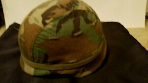US Army Issued PASGT Kevlar Troop Helmet Woodland Cover-Medium w Vietnam P38