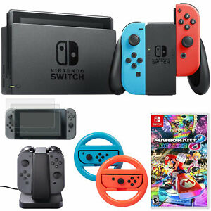 Nintendo Switch 32 GB Console with Neon BlueRed Joy-Con + Mario Kart 8 Bundle
