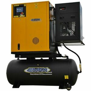 EMAX 7.5-HP 120-HP Variable Speed Rotary Screw Air Compressor Fully Packaged ...