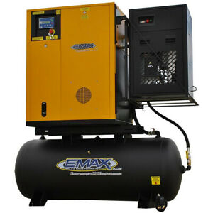 EMAX 10-HP 120-Gallon Variable Speed Rotary Screw Air Compressor Fully Packag...