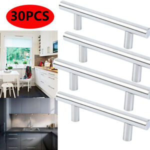 30 Pack Kitchen Cabinet Door Handles Set Modern Satin Nickel Stainless Steel