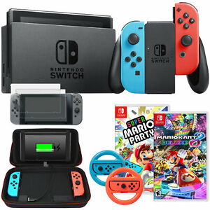 Nintendo Switch 32 GB Console with Neon Blue & Red Joy-Con + Party Games Bundle
