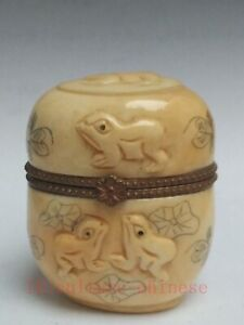 Collection Old China Tibet Hand-carved Lovely Frog Jewelry Box Decoration Gift