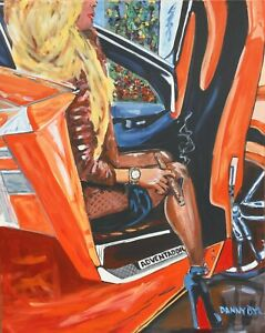 Cuban Cigar Babe Car Legs Original Art Painting DAN BYL Contemporary Modern 4x5'