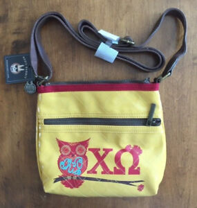 NWT Chi Omega CROSS BODY BAG PURSE Adjustable Leather Strap LICENSED Sorority