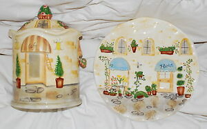 COOKIE JAR AND PLATE BELLA CASA BY GANZ NEW COLLECTIBLE WEDDING GIFT