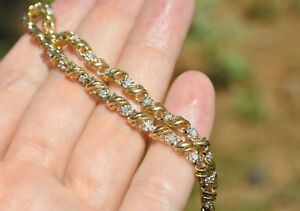10K SOLID YELLOW GOLD NATURAL DIAMOND TENNIS BRACELET 7 38