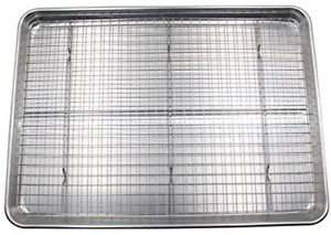 Checkered Chef Baking Sheet and Rack Set - Aluminum Cookie SheetHalf Pan for wi
