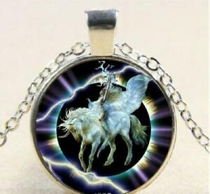 Silver 20quot; necklace UNICORN LIGHTNING glass gem Pendant charm female FREE BOX $17.97