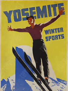 Vintage Yosemite skiing ad reproduction steel sign cabin mountain decor