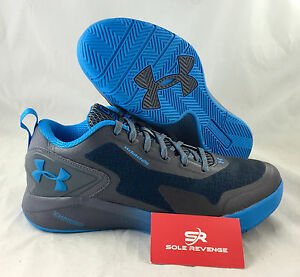 New 11 Under Armour Clutchfit Drive 2 Low Basketball Shoes Graphite Gray Blue