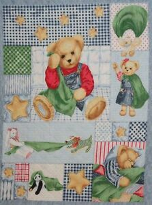 Blue Jean Blankie Bear Pre Quilted Sewing Quilting Cot Panel Cotton Fabric GBP 14.99
