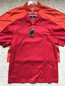 TIGER WOODS COLLECTION NIKE FIT DRY AHEAD GOLF SHIRT LOT OF 2 SIZE LARGE (L) NWT