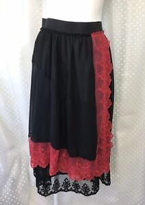 COMMEDES GARCONS: RARE & MINT! Glossy Sheer Black Skirt With Red Floral Laces