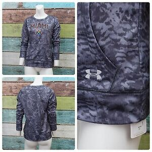 Under Armour Miami Marlins Youth Boys Girls Large YLG Camo Pullover Hoodie MLB