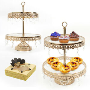 2 Tier Crystal Clear Round Cupcake Stand Cake Display Tower Wedding Steel frame
