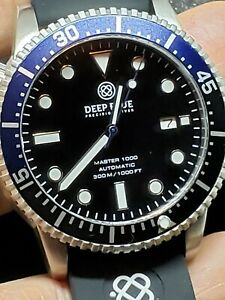 NEW DEEP BLUE MASTER 1000300FT AUTOMATIC BATMANBLACKDIAL WHITE LO(free gift)