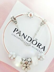 Authentic Pandora Bracelet Silver Bangle with White Flowers European Charms