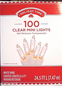 Holiday Time 100 Clear Mini Lights White Wire Lighted Length 22.6 ft $8.99