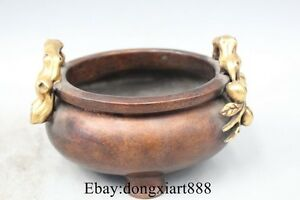 5 Chinese Royal purple Bronze 24K Gold Peaches Palace incense burner Censer