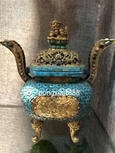 Tibet Copper 24K Gold eight treasures Dragon Foo dog lion Incense Burners censer