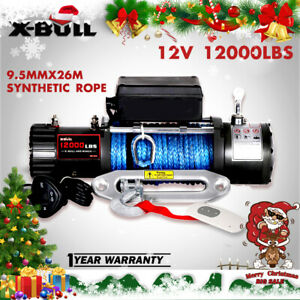X-BULL 12V 12000LBS Electric Winch Synthetic Rope Jeep Towing Truck Off Road 4WD