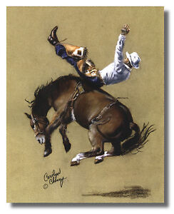 Rodeo Cowboy Riding Wild Bronco Wall Art Print Picture 16x20 By Carolyn Cheney $13.75
