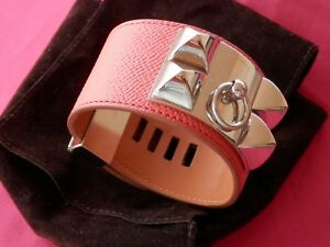 HERMES Medor Collier De Chien Leather Bangle Bracelet Rose Jaipur GP Adjustable