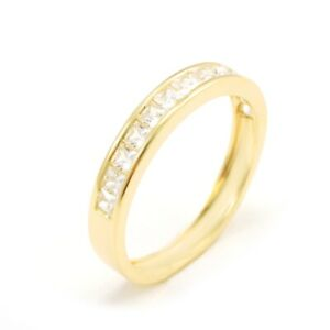 0.5 Ct. Princess 14-Stone Accent Solid 14k Yellow Gold Anniversary Band Ring