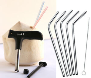 CocoDrill Coconut Opener Tool + 5 Reusable Stainless Steel Drinking Straws -