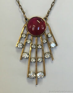 Estate Jewelry Ruby & Cubic Zirconia Pendant Necklace 18K Yellow Gold 18