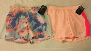 Youth Girls XL Peach Sea Green 2 Piece Lot Nike Dri Fit Lined Running Shorts NWT