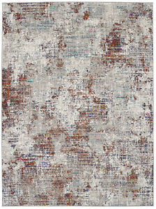 10' x 13' Karastan Machine Woven Area Rug Apex Ginger Grey Oyster Lapis Peacock