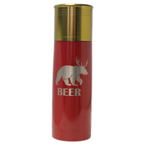 Bear Deer Beer -Engraved 25 oz Red Shot Gun Shell Double Wall Insulated Thermo