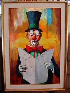 Wall Street Clown - LARGE Oil Painting on Canvas Signed WERNER