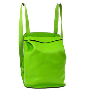 Authentic HERMES SHERPA PM Backpack Bag Apple Green Veau Swift France A42678
