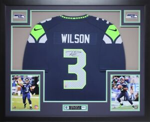 Russell Wilson Autographed and Framed Blue Seahawks Jersey Auto Wilson COA D2 L $1095.00