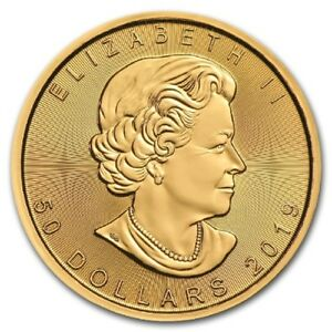 One Hundred (100) One Ounce 2019 Canadian Maple Leaf Gold Coins - FREE shipping