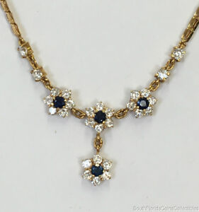 Estate Jewelry Cubic Zirconia & Sapphire Flower Necklace 18K Yellow Gold 17