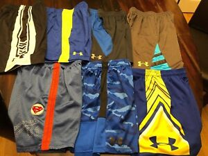 Lot Of 7 Boys Youth Small Athletic Basketball Shorts Under Armour UA GS Warriors