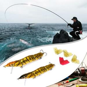 4 Sections Replaceable Fishtail Shrimp Fishing Lures Artificial Crankbait Tackle