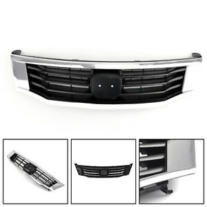 Front Grille Primed Black With Chrome Molding Trim For 2008-2010 Honda Accord US
