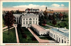 President Office & White House from State Department Washington DC Postcard N21