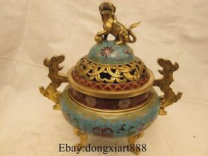 13 China Cloisonne Enamel Bronze Gilt Foo Dog Lion statue incense burner Censer