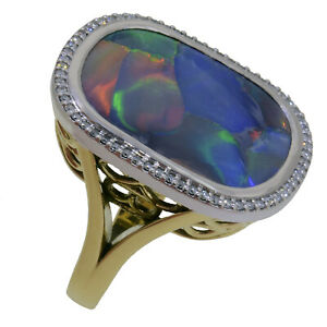 18K Yellow and White Gold Natural Black Opal Ring