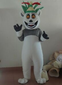 Cute High Quality King Julian Lemur Mascot Costume For Adult  Halloween Party A+