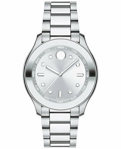 *BRAND NEW* Movado Women's Bold Stainless Steel Bracelet Silver Watch 3600415