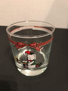 Christmas Glass Cup Tumbler Bear Holiday glassware dinner juice drinking 3.5quot;