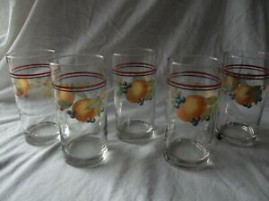 (5) Flat Tumbler glasses cooler Complements Indiana Fruit Peach Cherry Blueberry