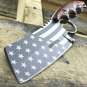 8.25quot; WARTECH PROUD AMERICAN USA FLAG FULL TANG SKINNING HUNTING KNIFE Cleaver